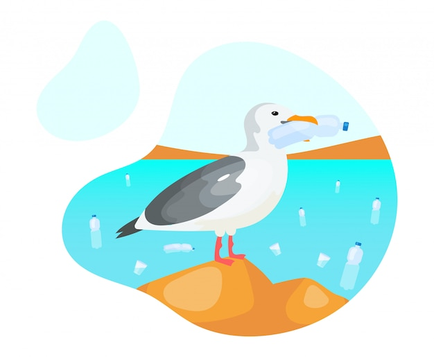 Seagull with plastic bottle flat concept icon