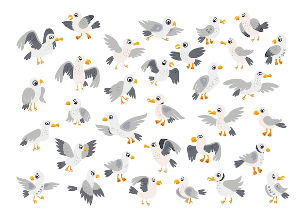 A seagulls characters collection isolated on white