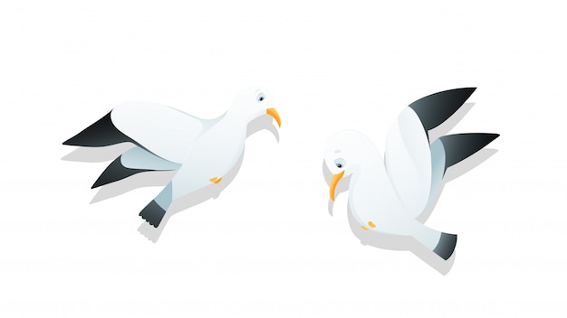 Seagulls flying character cartoon watercolor style kids illustration vector clip art.