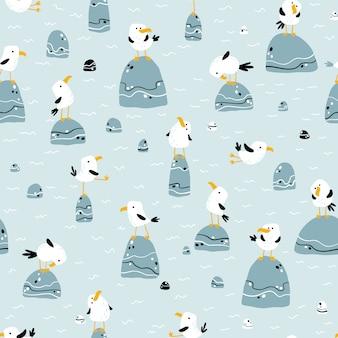 돌에 갈매기입니다. 원활한 패턴 손으로 그려 스칸디나비아 만화 스타일. 제한된 팔레트의 그림은 어린이를위한 직물, 섬유, 포장지에 인쇄하는 데 이상적입니다