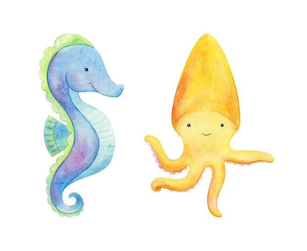 タツノオトシゴとタコのクリップアート。手描きの海の動物の水彩イラスト。