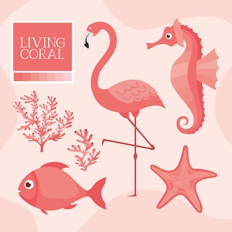 Seahorse, flamingo, fish, starfish in living coral style