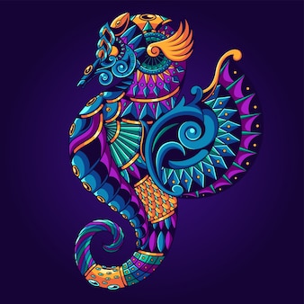 Seahorse ornament illustration