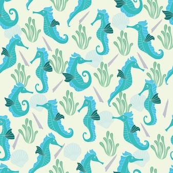 Seahorse seamless pattern