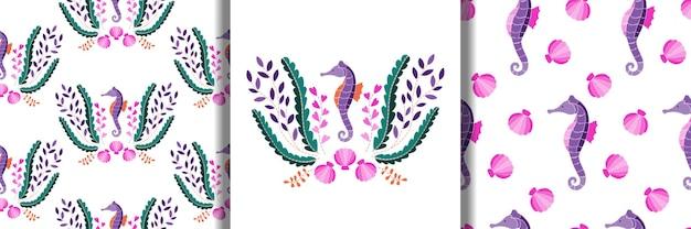 タツノオトシゴの海藻と貝殻の刺繡パターンとシームレスなパターンのセット