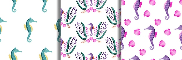タツノオトシゴ海藻と貝殻刺繡のシームレスなパターンセット