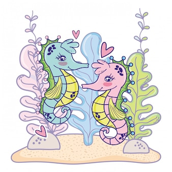 Seahorses couple animals with hearts and seaweed plants