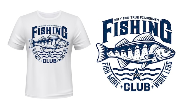Шаблон одежды с принтом футболки морского окуня с рыбой