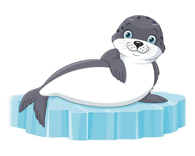물개 동물은 빙원에 놓여 있습니다. 벡터 만화 일러스트 레이 션
