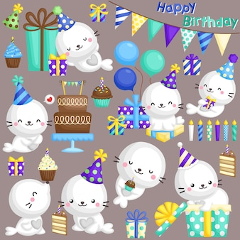 Seal birthday vector set