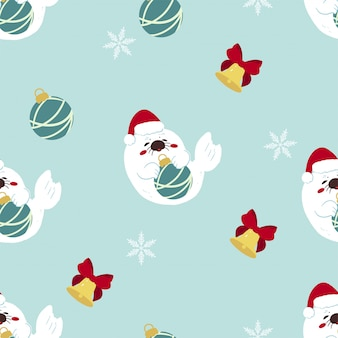 Seal christmas pattern seamless