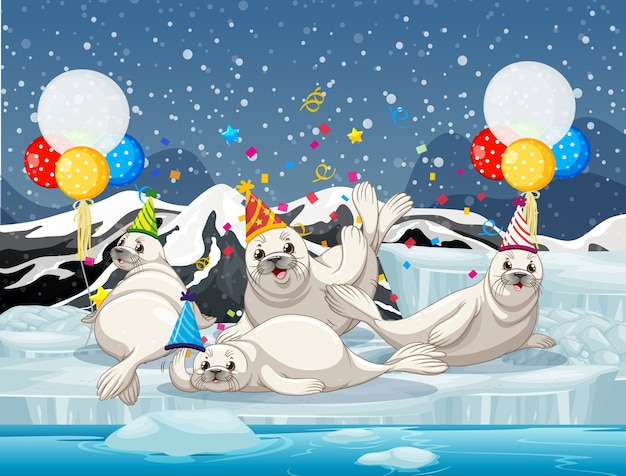 Seal group in party theme cartoon character on antarctica background