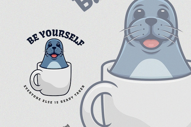 Seal out from a mug cartoon funny