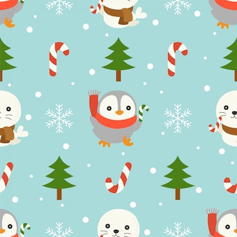 Seal and penguin, christmas seamless pattern theme, for use as wallpaper and wrapping pape