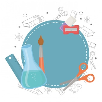 Seal stamp and school supplies design