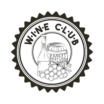 Seal stamp with barrel and bunch of grapes