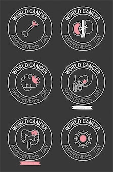 Seal stamps of world cancer day