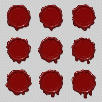 Seal wax stamps vector set for certificate and document
