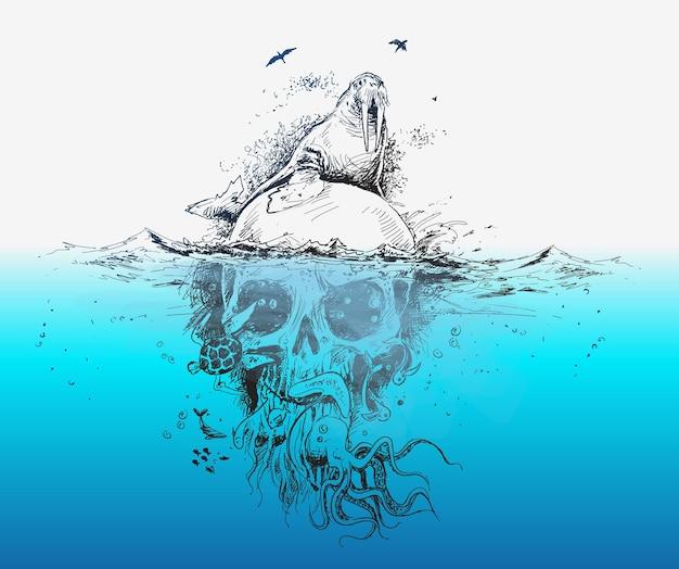 수중 두개골 해적 디자인 포스터 벡터 일러스트와 함께 인감