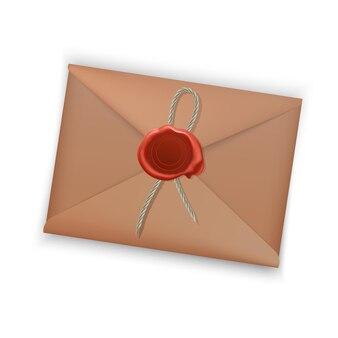 Sealed envelope with letter on white