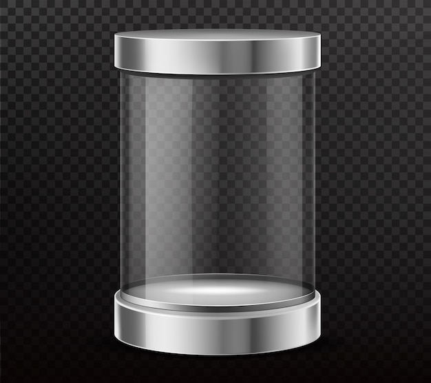 Sealed, glass cylinder capsule realistic vector