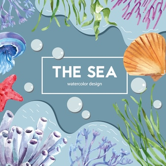 Sealife themed frame with animal under the sea, creative contrast color illustration template