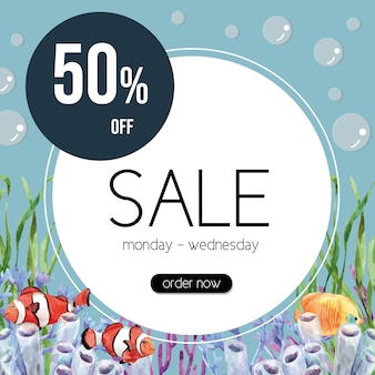 Sealife themed frame with clown fish and coral, creative colorful illustration template