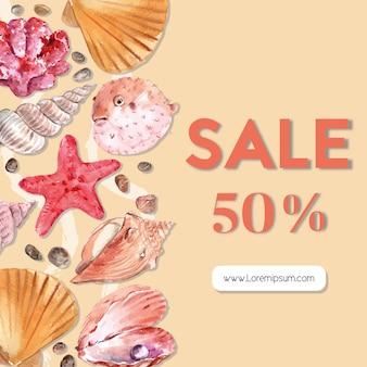 ヒトデと貝殻、温かみのある色のイラストテンプレートシーライフテーマフレーム。