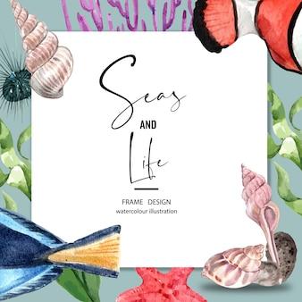 Sealife-тематические рамки. различные животные под морем для украшения.
