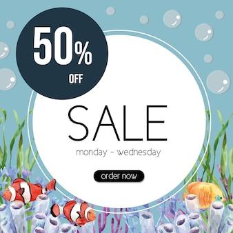 Тематическая рамка sealife с рыбой-клоуном и кораллом, креативный красочный шаблон иллюстрации