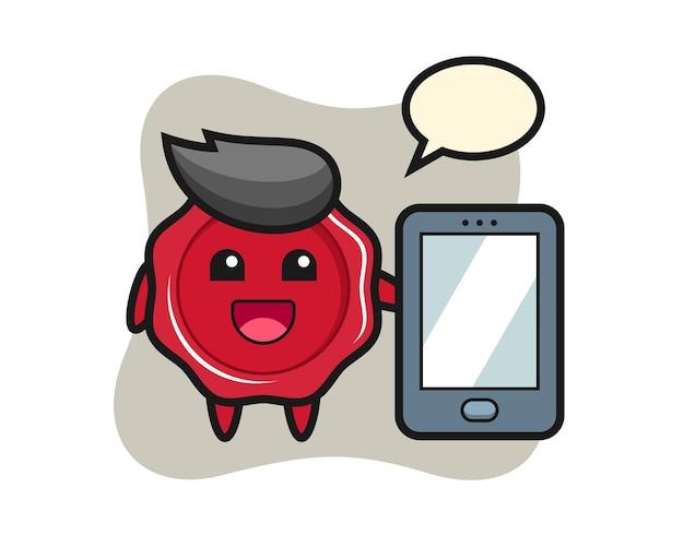 Sealing wax illustration cartoon holding a smartphone