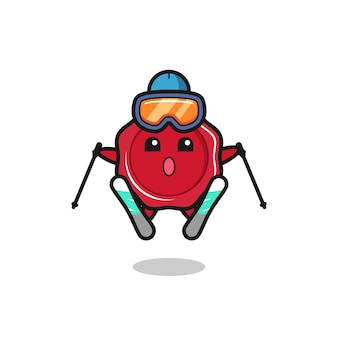 Sealing wax mascot character as a ski player , cute style design for t shirt, sticker, logo element