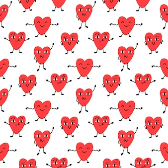 Seamess pattern with funny hearts for valentines day