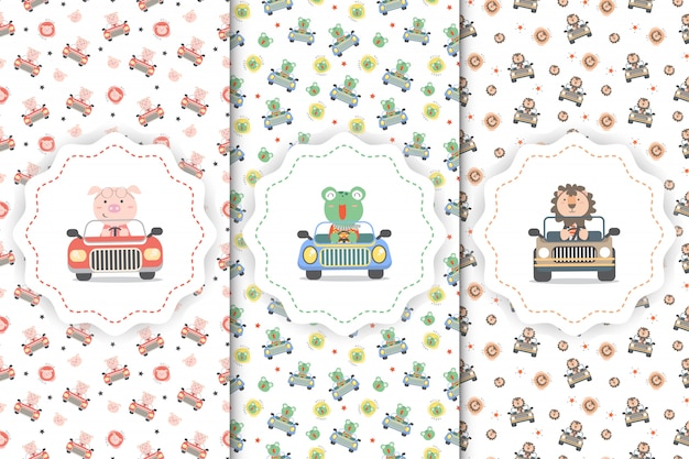 Seamleass pattern set with cute animals