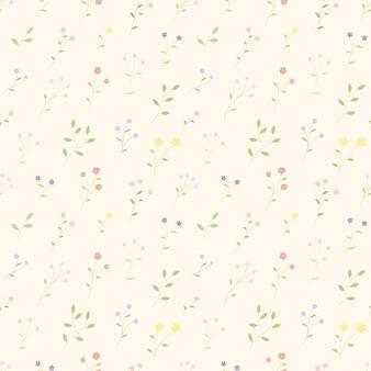 小さな花が咲くカラフルなseamleassパターン背景