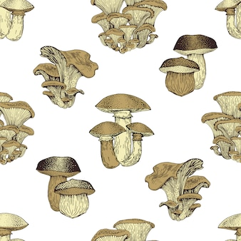 Грибной рисованной вектор seamlees шаблон. изолированная предпосылка чертежа натуральных продуктов эскиза. старинный фон.