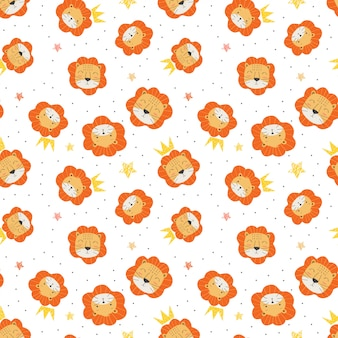 Seamles childish pattern dad and child of lion and crown in the white backdrop