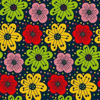 Модный принт с винтажным цветочным рисунком в стиле ретро