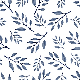Seamles pattern of blue leaves for fabric design