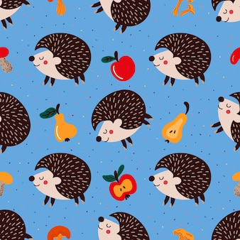 Seamles pattern of hedgehogs and ripe fruits with mushrooms and multicolored dots