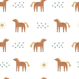 Seamles pattern with horses. hand drawn vector illustration for kids design.