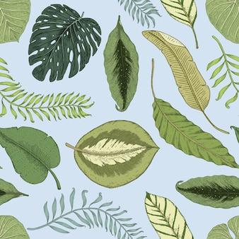 Seamlesヴィンテージトロピカル柄の葉、手描きまたは彫刻。ヴィンテージの葉と植物