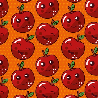 かわいいフルーツカワイイ顔面白いseamlesパターン