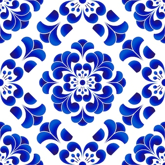 青と白の磁器の花のパターン中国と日本のスタイル、セラミックの花のseamles