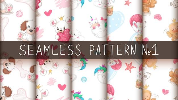かわいい動物 -  seamlesパターンを設定します。