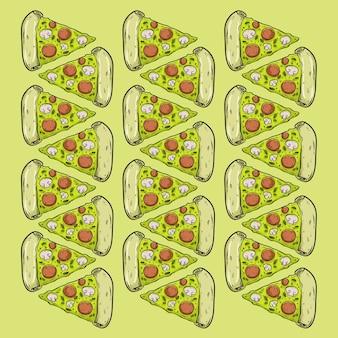 ピザファーストフードパターンseamlesデザインの背景