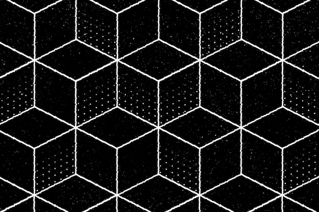 Seamless 3d geometric cubic pattern on a black background