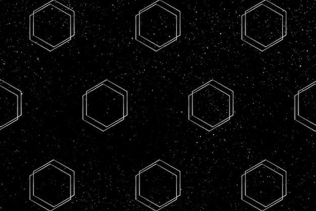 黒の背景にシームレスな3d六角形パターン
