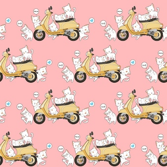 Seamless 6 cute cats and yellow motorcycle pattern.