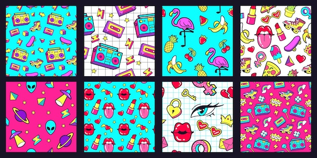 Seamless 90s pattern. retro 80s pop fashion patterns with funky doodle stickers. lips, music tape and pink flamingo vector illustration set. watermelon and banana, cherry and pineapple